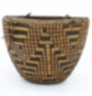 An intricate fully-imbricated Southern Coast Salish Cowlitz coiled basket, ca. late 19th century.