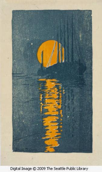 Waldo Chase Woodblock Woodcut Print Silhouettes
