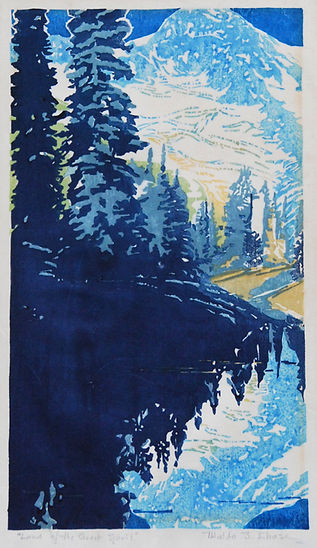 Waldo Chase Woodblock Woodcut Print Mt Rainier Mirror Lake