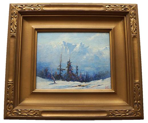Jules Dahlager Alaskan Painting Mt. McKinley Newcomb Macklin Arts & Crafts Frame