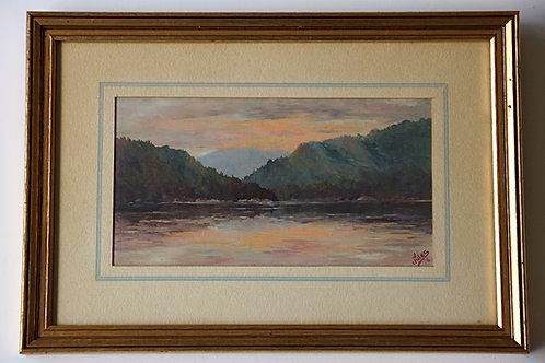 """Jules Dahlager Oil Painting, """"Bell Island, near Ketichkan, Alaska,"""" 1938"""