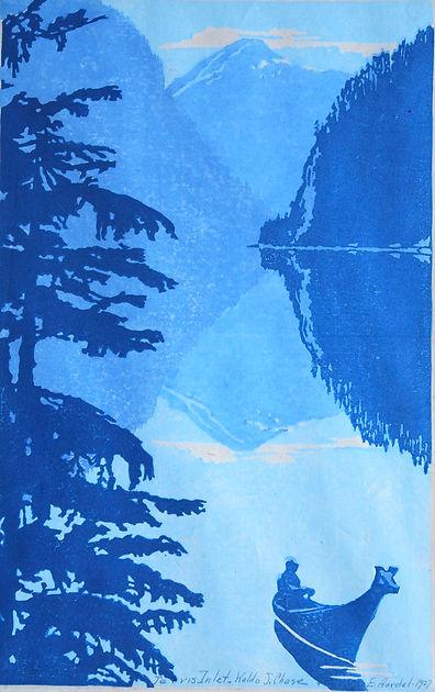Waldo Chase Woodblock Woodcut Print Jervis Inlet BC Canada