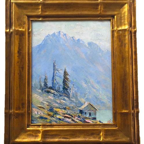 Jules Dahlager Oil Painting, Alaskan Landscape with Cabin, Cordova, Alaska, 1926