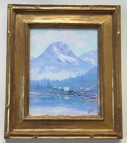 "Jules Dahlager Oil Painting, ""Mt. Eccles and Lake Eyak, Cordova, Alaska,"" 1926"
