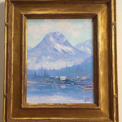 "Jules Dahlager Oil Painting, ""Mt. Eccles and Lake Eyak, Cordova, Alaska,"" 1926"