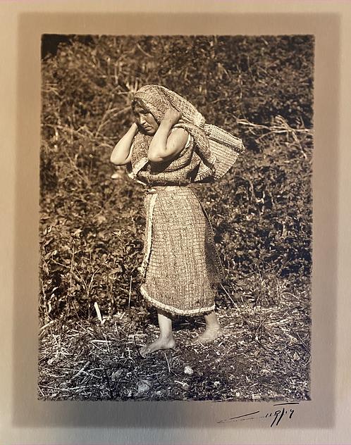 Edward Curtis Unpublished Hesquiat Toned Silver Gelatin Border Photograph