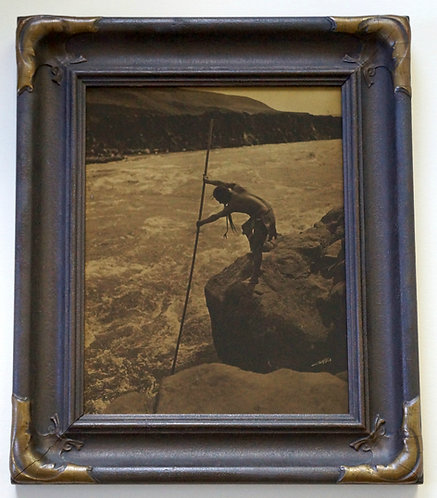 "Edward Curtis ""The Fisherman - Wisham"" Orotone/Goldtone Photograph ca. 1920s"