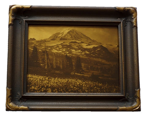Asahel Curtis Orotone Goldtone Photograph Photo Mt. Rainier