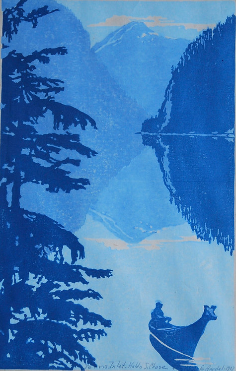 """Waldo S. Chase, """"Jervis Inlet (B.C., Canada),"""" Color Woodblock Print, 1927"""