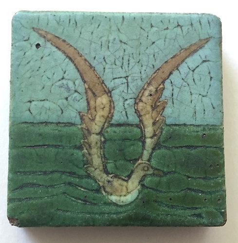 Grueby Art Pottery Cuenca Seagull Tile Trivet, ca. 1910s