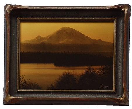"Asahel Curtis ""Dawn"" Mt. Rainier, Lake Washington Orotone/Goldtone Photograph"