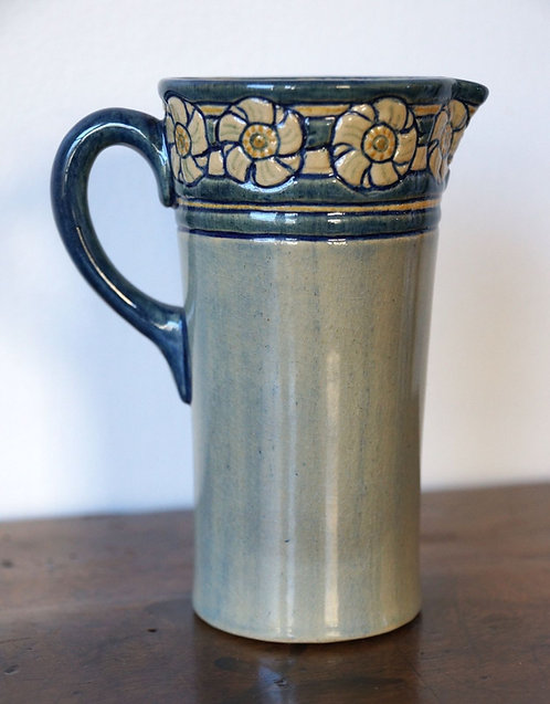 Early Newcomb College High-Gloss Pottery Pitcher, Daffodil Design, 1905