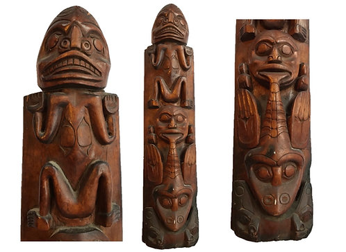 Historic Tlingit Carved Big Leaf Maple Totem, ca. 1870s