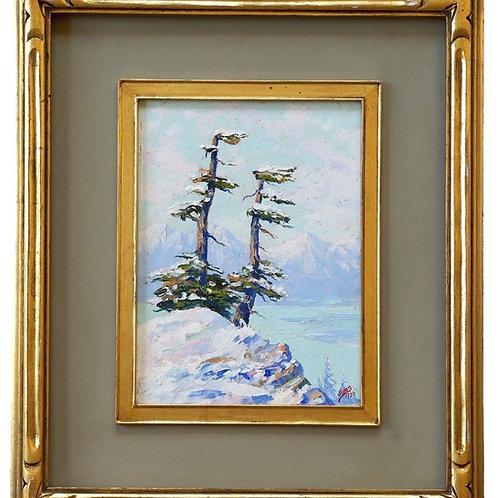Jules Dahlager Oil Painting, Alpine Firs, Cordova, Alaska, 1926