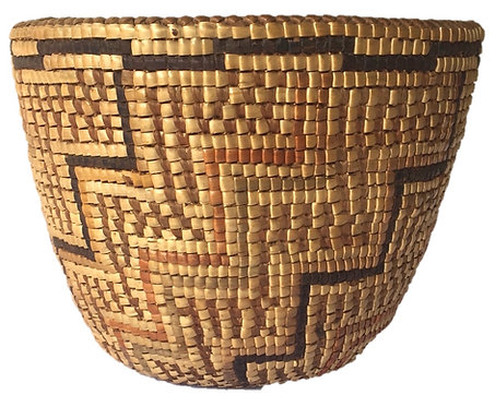 Antique Southern Puget Sound Coast Salish Fully-Imbricated Coiled Berry Basket