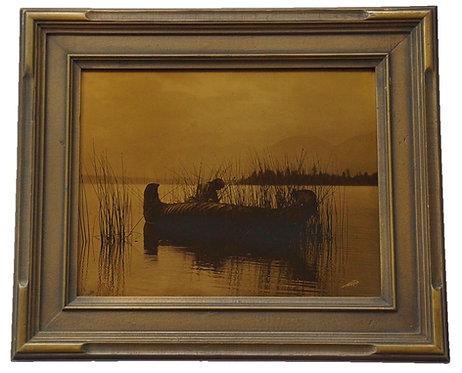 "Edward Curtis ""The Rush Gatherer, Kutenai"" Orotone/Goldtone Photograph"