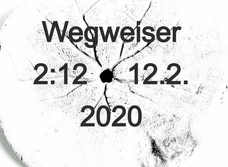 Wegweiser Uhrzeit 2:12 / 12.2. 2020