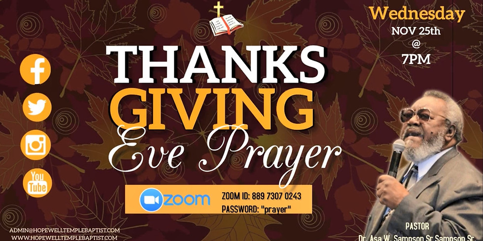 Thanksgiving Eve ZOOM Prayer with Pastor