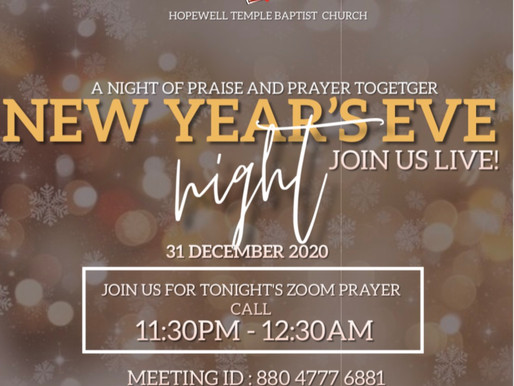 New Year's Eve ZOOM Prayer with Pastor Sr.