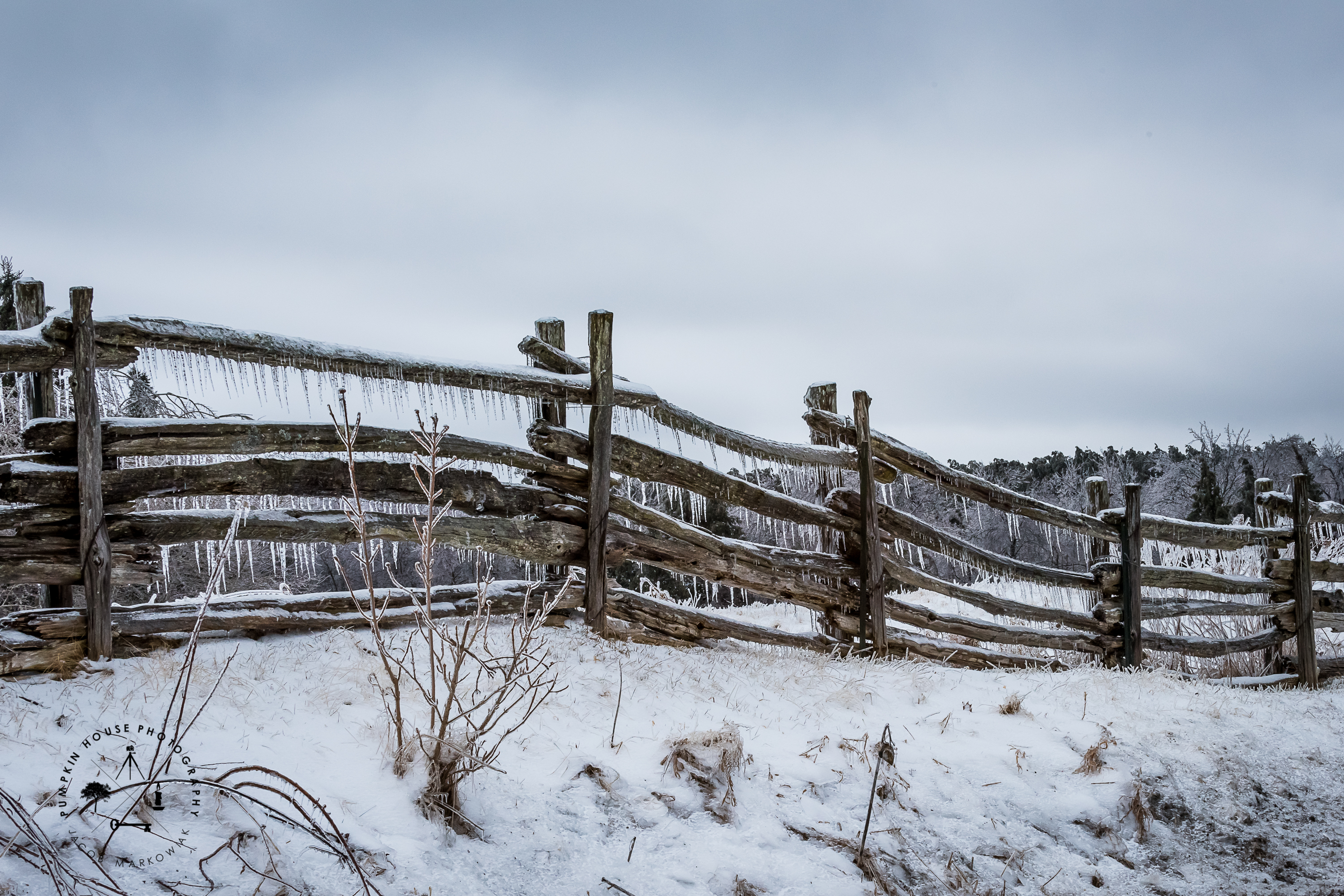 fence with ice