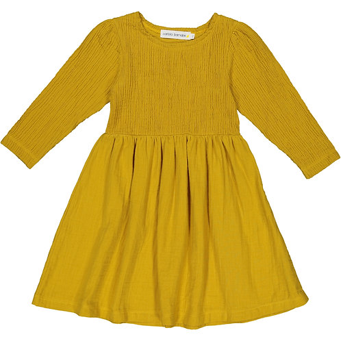 Wrinkled Dress - Creamy Mustard - Kid