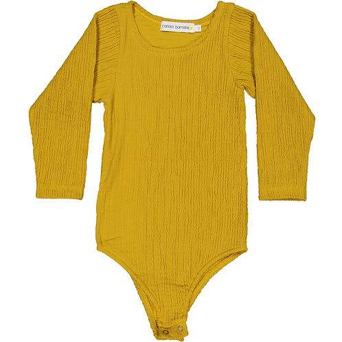 Wrinkled Bodysuit - Creamy Mustard - Kid