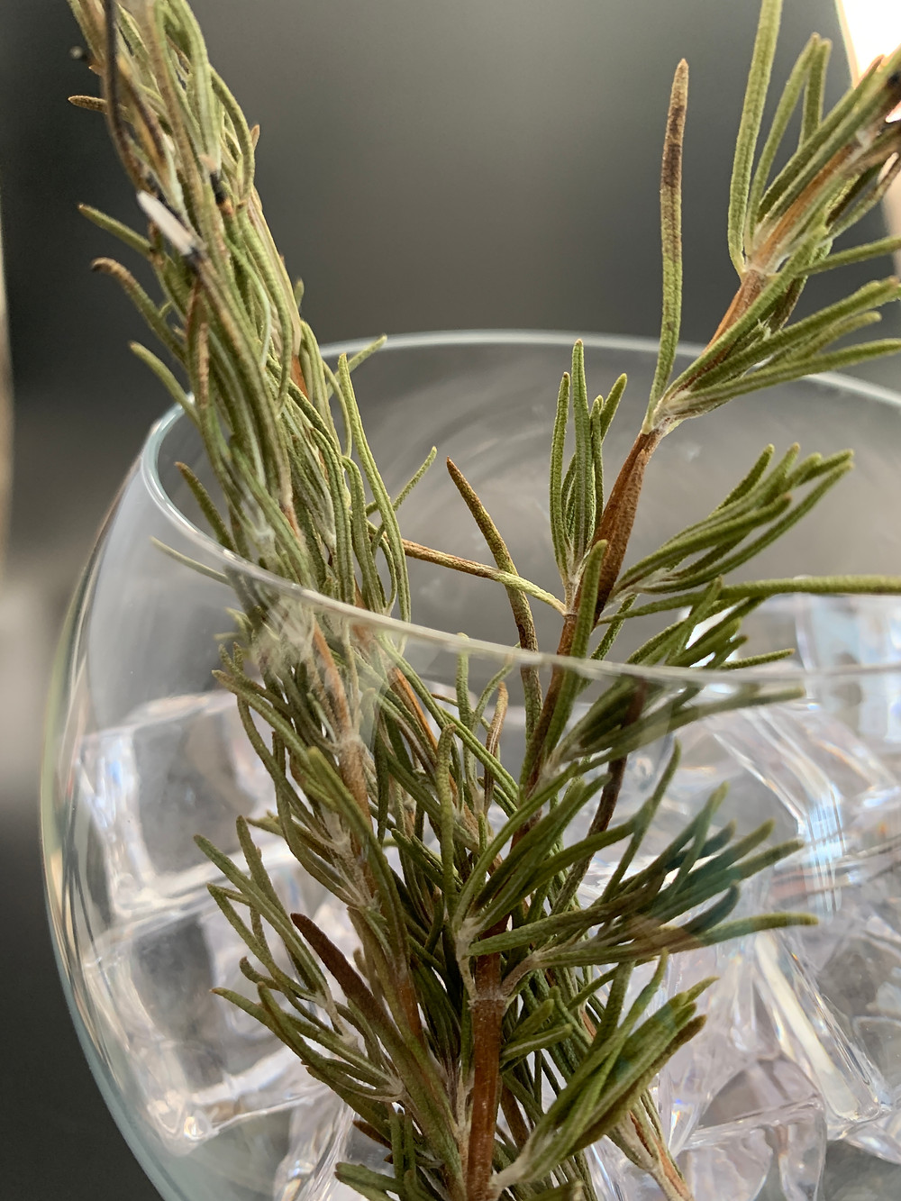 Burnt rosemary overpowering a gin and tonic