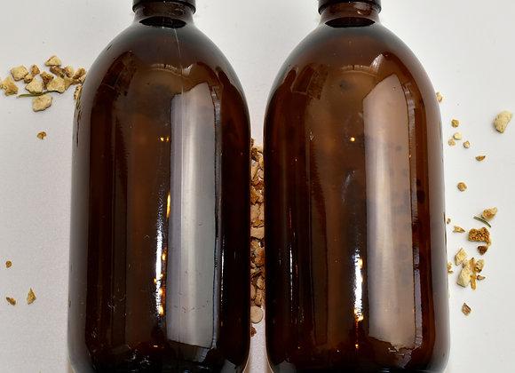 Amber glass sirop bottles with aluminium screw caps