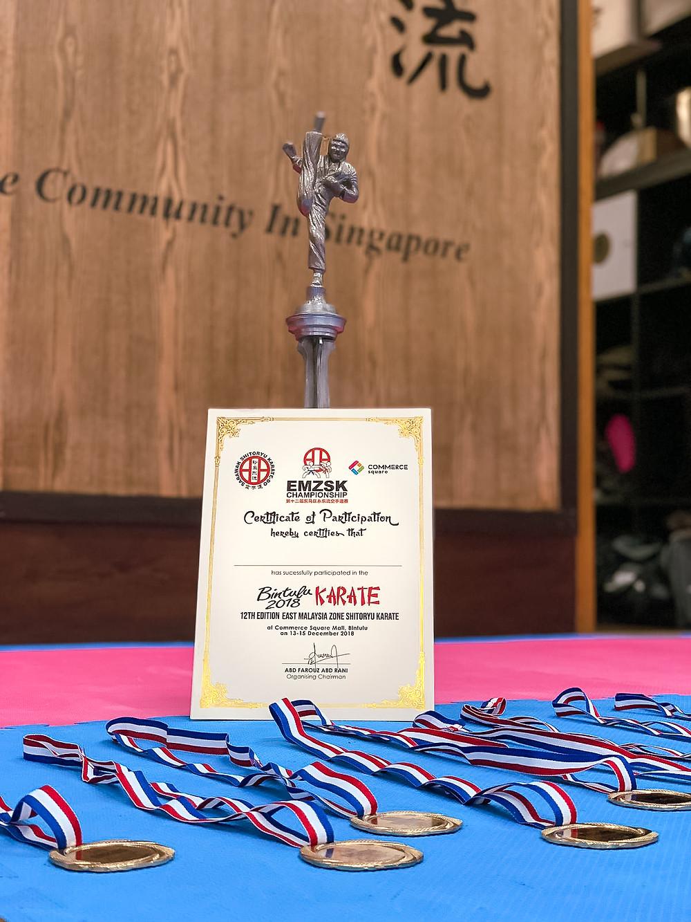 trophy, medals, certificate, gold