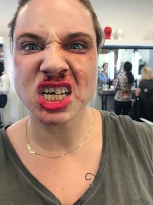 Make up for a character after a fight.