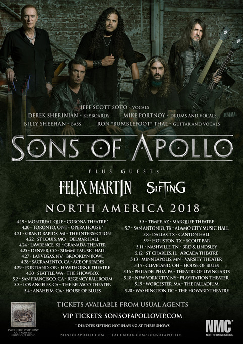 Sons Of Apollo, Felix Martin & Sifting North America!