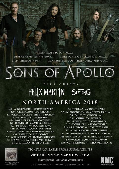 Sons Of Apollo, Felix Martin & Sifting North America!