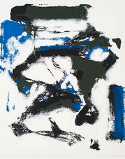 An abstract silkscreen print by Joan Mitchell. White background with blue, black and grey gestural markings.