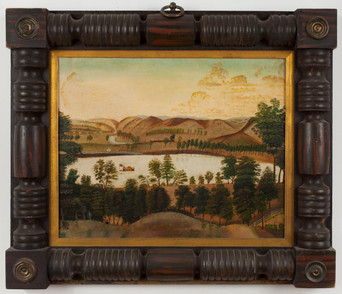 Ohio River Landscape Folk Painting, American School