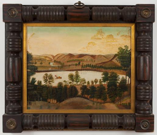 Ohio River Landscape Folk Painting, American School