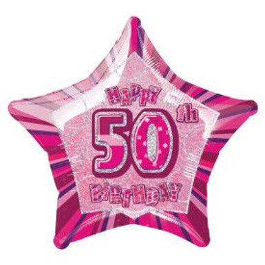 "Balloon Foil 18"" Happy Birthday 50 Pink"