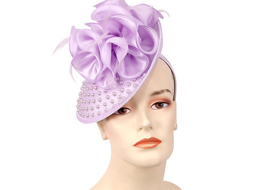 #60 Fascinator on a headband, Diagonal place and grooved buckram top,
