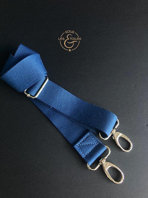 Bandoulière sangle 4cm bleu uni