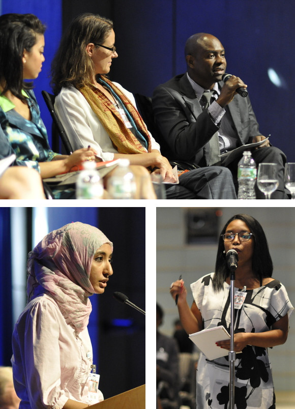 Top: Evans Musonde from Zambia,  Fatma Bazahy from Kenya, participant asking a question during the Forum on Youth and Service at the World Bank.