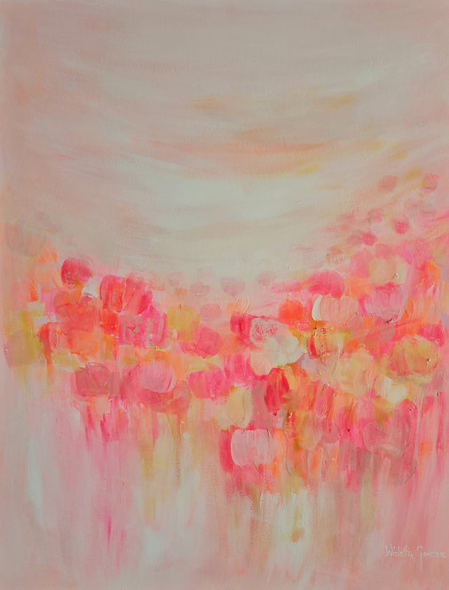 Vivid Pink and Yellow Flowers - 64x50cm