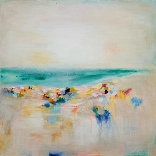 """Flowers at the beach"" - 60x60x2cm"
