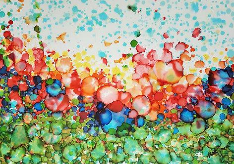 """Denim Flowers""- 100x70cm"