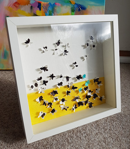 """Box""""Happy Butterflies Black & White"""" -  27x27x6cm"""