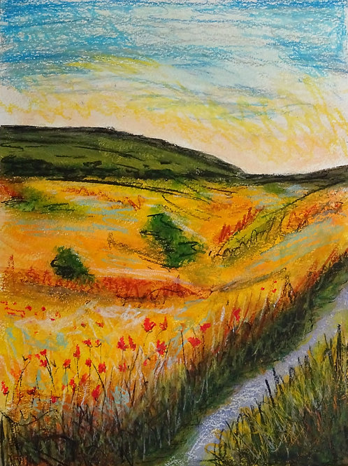 """Poppies by a Stream"" 30x40cm"