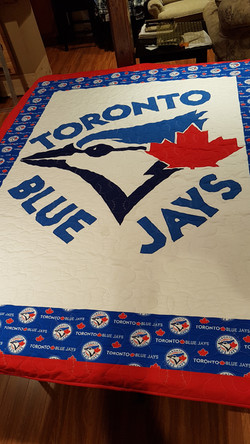 Blue Jays Quilt with Baseball Pattern
