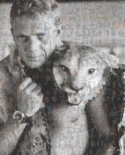 Steve McQueen with a feline