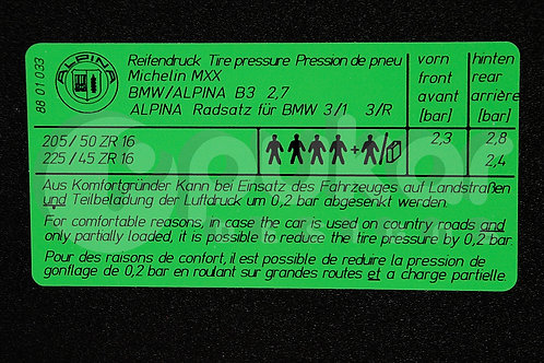 Alpina Tyre Pressure