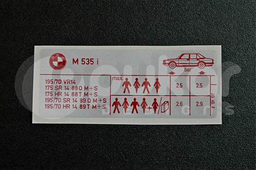 E12 M535i Tyre Information
