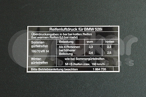 E12 528i Tyre Information