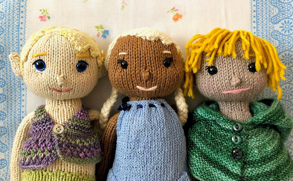 Group of 3 knitted toys. Mermaid with blond hair, Elf with white hair, Elf with gold hair.